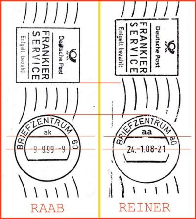 Stempelvergleich Handrollstempel Frankierservice von der Firma Raab (links) und Firma Reiner (rechts)