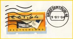 Briefauschnitt eines Großbriefes entwertet mit der Paragon DM 900 auf Tintenstrahlbasis aus der späten Versuchszeit
